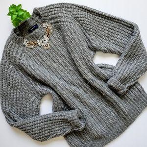 Gant Alpaca Blend Chunky Knit Cozy Gray Sweater L